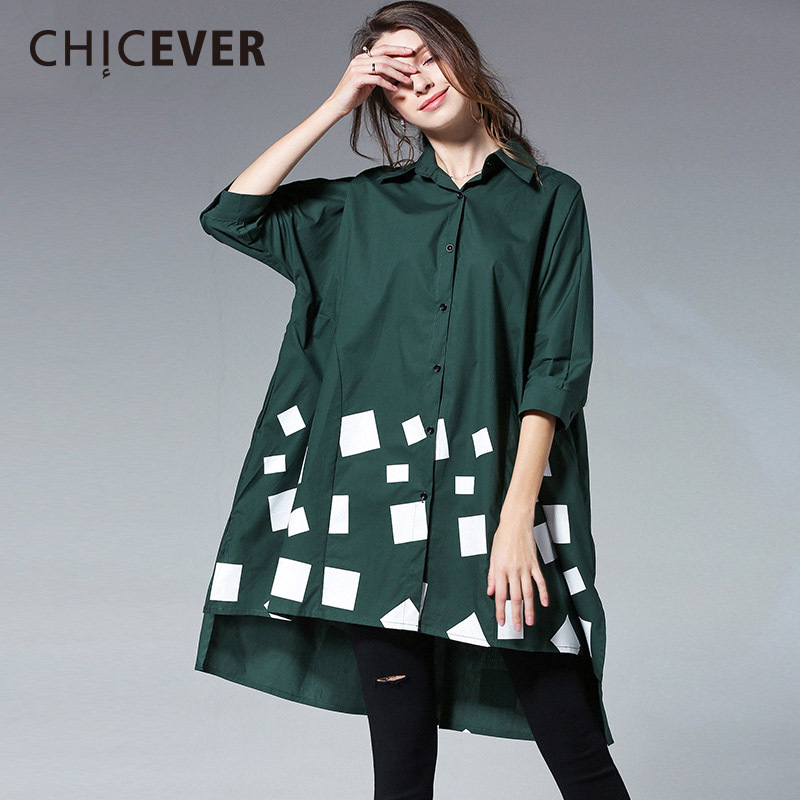 CHICEVER Spring Plus Size Women Shirt Blouses Top Long Sleeve Asymmetry Hit Colors Women Shirts Blouse Clothes Fashion Casual