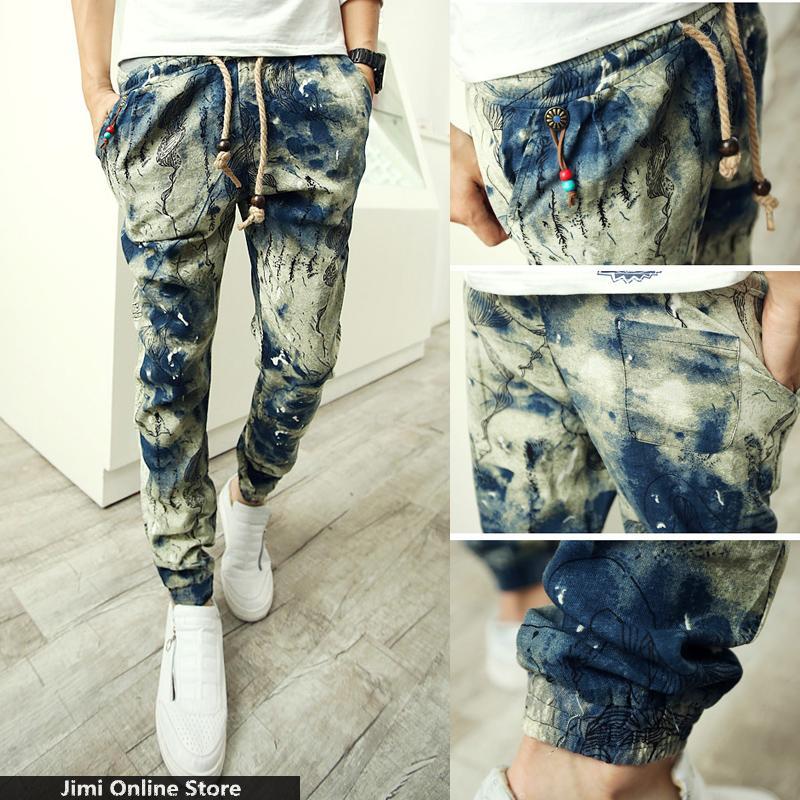 linen trousers men floral joggers strip man jogger pants Men's tie dye harem pants ink painting a gradient antique casual pants