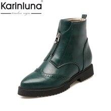 KarinLuna 2017 Brogue Top Qualität Spitz Stiefeletten Frauen Quadrat Low Heels Frau Schuhe Britischen Stil Martin Stiefel