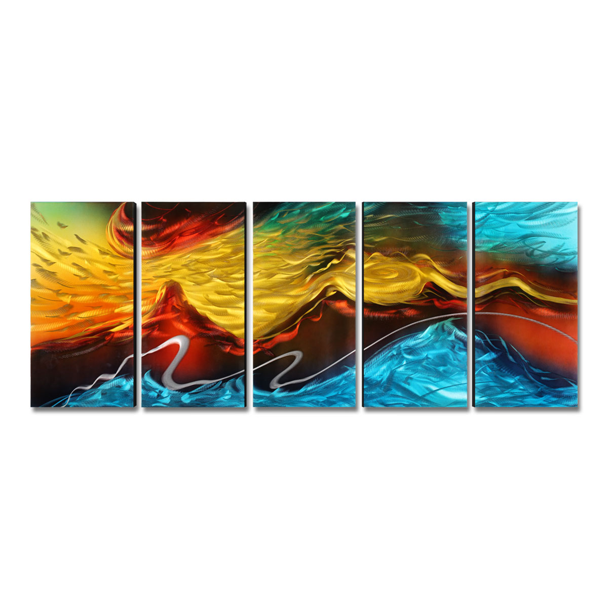 Fire and Ice Modern Painting Abstract Wall Art Home Decoration 5 Panels Multicolor Home Decor Home Decoration AccessoriesFire and Ice Modern Painting Abstract Wall Art Home Decoration 5 Panels Multicolor Home Decor Home Decoration Accessories
