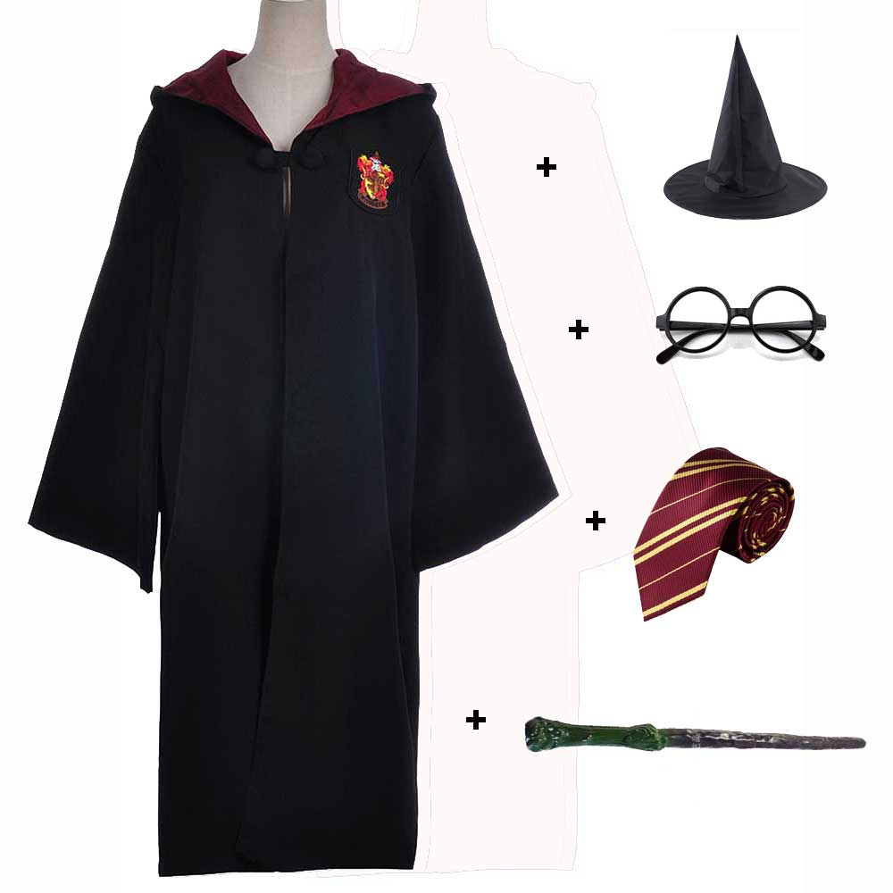 Kids Adult Gryffindor Ravenclaw Hufflepuff Slytherin Robe Halloween Harri Potter Robe Cape Wand Tie Glasses Set Cloak Costume