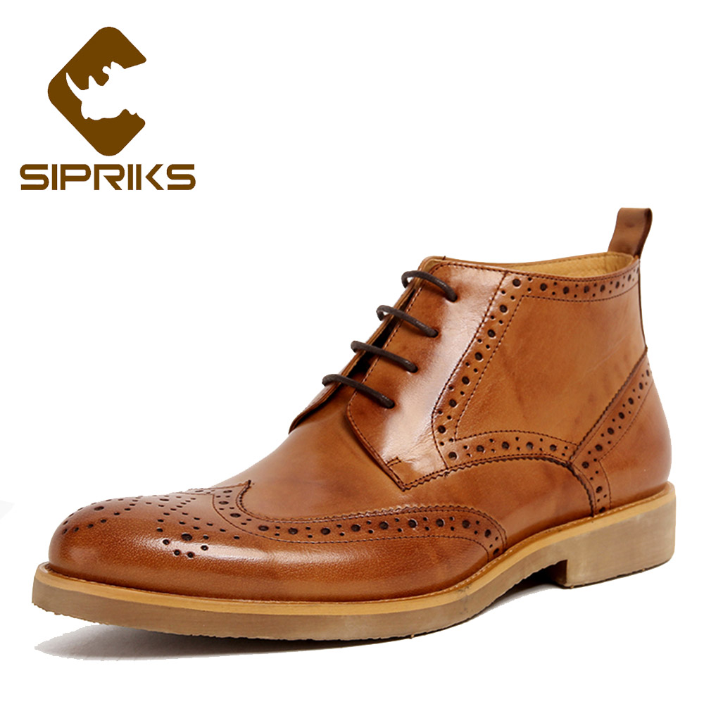 Sipriks Mens Full Brogue Boots Genuine Leather Carved Wing Tip Dress Boots Vintage European American Indian Work Boots English recent indian english drama