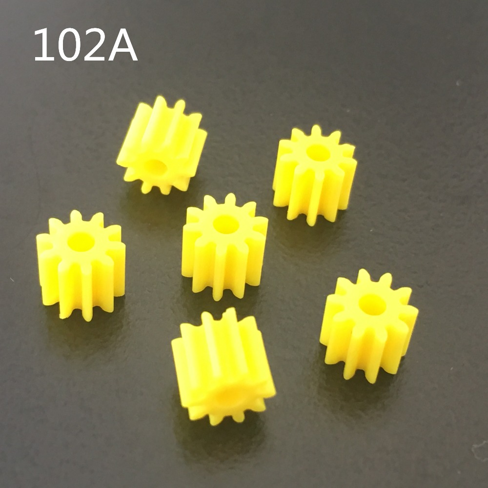 6pcs/lot K935 102A Shaft Gear Yellow Color Plastic Small Gears Fit 2mm Axle DIY Model Car Making Free Shipping Russia
