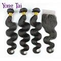 Onda do corpo malaio 4 pacotes com fecho de 6a malásia virgin cabelo humano weave bundles cabelo com lace closure com fecho