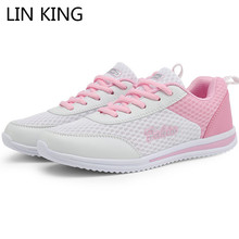 LIN KING Breathable Women Casual Shoes Fashion Air Mesh Lace Up Single For Female Woman Sneakers Tenis Feminino Plus Size