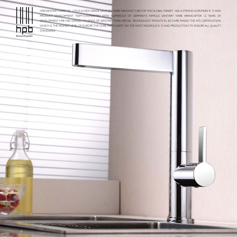 HPB Brass Kitchen Faucet Mixer Tap Deck Mounted for Sink or Basin Single Handle Single Hole Hot and Cold Water HP4016 hpb pull out bathroom faucet brass sink basin mixer tap cold hot water chrome single hole handle fashion design quality hp3030
