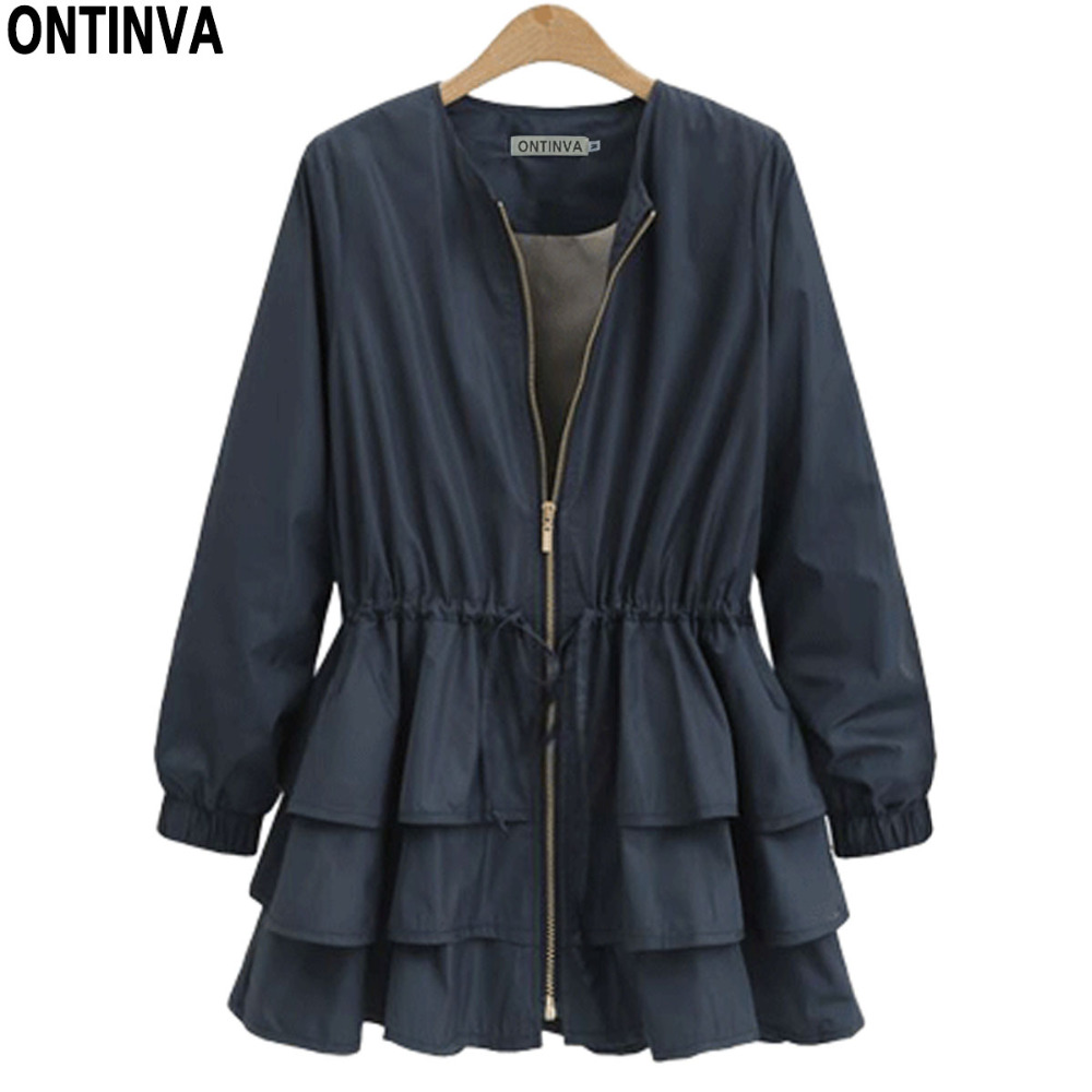 2019 Plus Size Ruffles Winter   Trench   Women Waistcoat Belt   Trench   Dress Outwear O Neck Patchwork Zipper Solid Casual   Trench   Coat