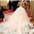 Elegante Por Encargo Vestidos de Bola Vestidos de Novia de Tren Capilla de Encaje Opacidad Blush Vestido De Novia 2017 Vestidos de Princesa Elegante