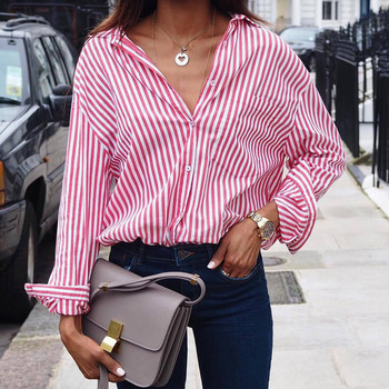Striped Button Loose Blouse Tee Top Ladies Shirt Casual