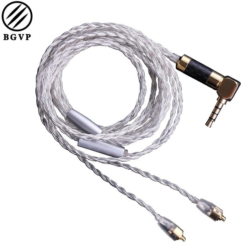 BGVP DIY 5N OCC BGVP DM5 Silver Plated Earphone Cable SE535 846 High Frequency Upgraded 8 Strand MMCX Cable with Mic 800 wires soft silver occ alloy teflo aft earphone cable for ultimate ears ue tf10 sf3 sf5 5eb 5pro triplefi 15vm ln005407