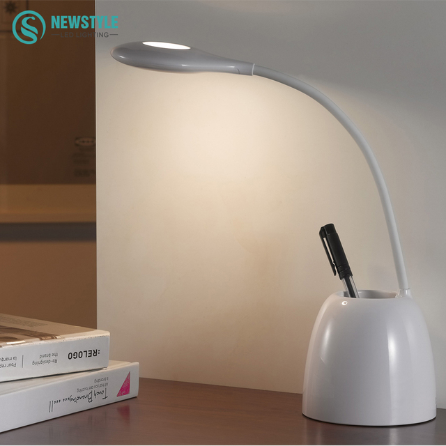 3W LED Desk Lamp Brightness Adjustable Touch Sensor with Adjustable Table Lamp holding pen for Home  Reading Studying Working
