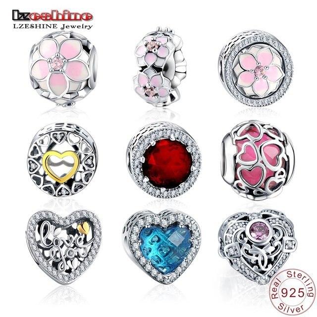 LZESHINE Шарм бисера 100% Аутентичные 925 стерлингового серебра бисера Fit Pandora оригинальный браслет Для женщин jewelry PSMB0014