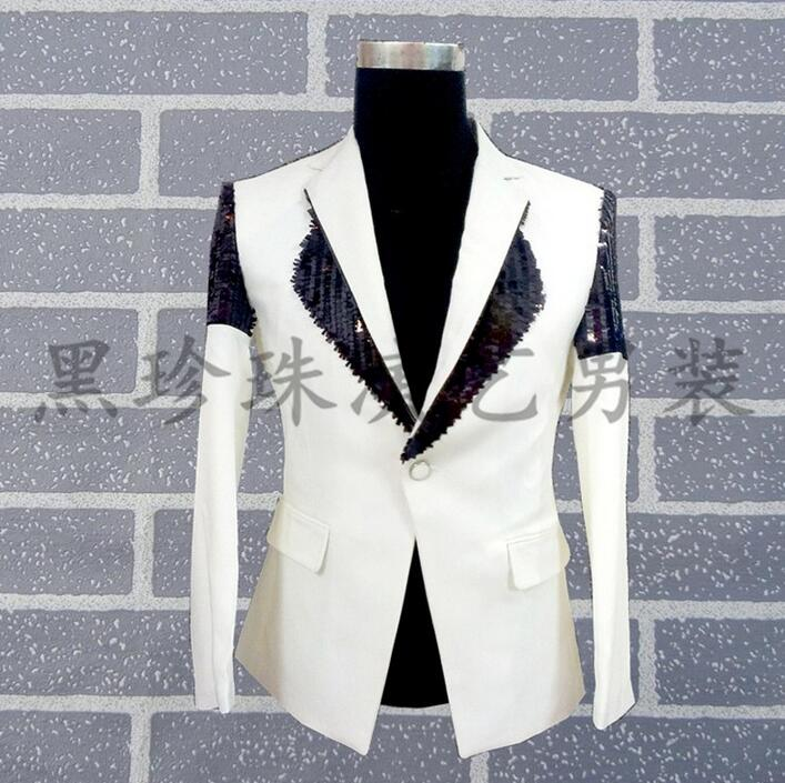 Men Suits Designs White Splice Stage Costumes For Singers Men Sequin Blazer Dance Clothes Jacket Star Style Dress Punk Fashion