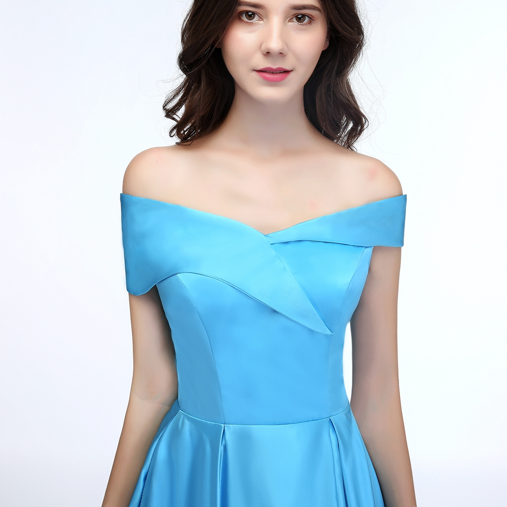1895279a6ee SSYFashion New Banquet Simple Satin Evening Dress Boat Neck High ...