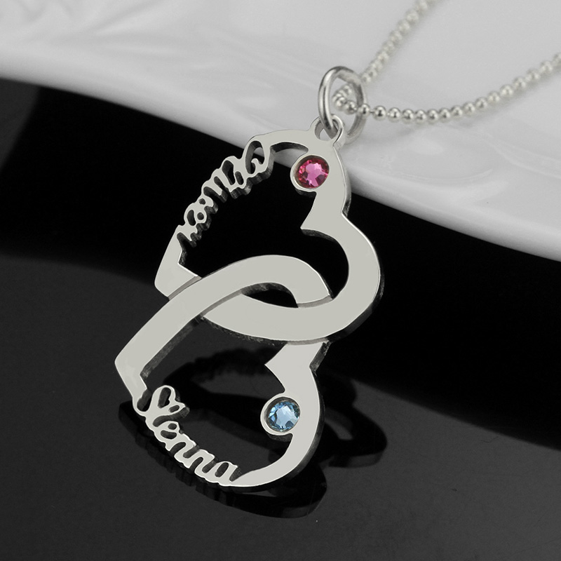 Wholesale heart names necklace with birthstone sterling silver 2 wholesale heart names necklace with birthstone sterling silver 2 open heart necklace customized couple necklace love jewelry in pendant necklaces from aloadofball Gallery