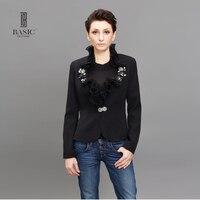 BASIC Spring Jacket Coat Fashion Jackets Women Slim Short Jacket Long Sleeve Ruffled Collar Black Jacket