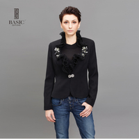 BASIC Spring Jacket Coat Fashion Jackets Women Slim Short Jacket Long Sleeve Ruffled Collar Black Jacket