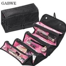 GABWE moda viaje colgante bolsa de cosméticos mujeres cremallera caso sólido maquillaje estuches necessarios organizador de almacenamiento bolsa de baño
