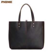 PNDME simple high quality crazy horse cowhide mens womens tote bags vintage large capacity genuine leather shopping handbag
