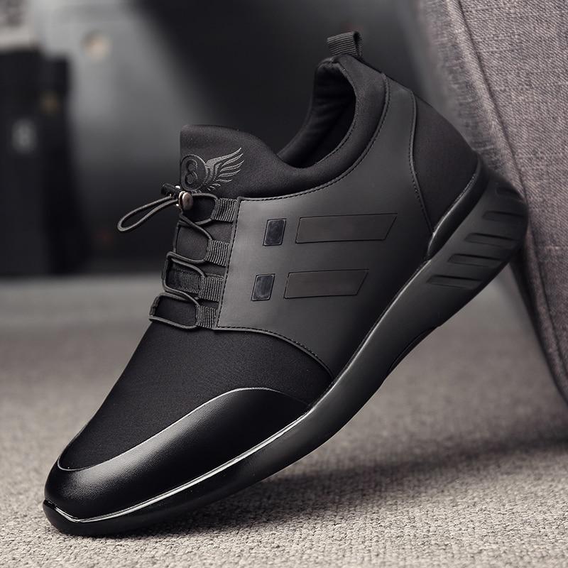 Image 4 - 2019 chaussures pour hommes qualité Lycra + vache cuir chaussures marque 6CM augmentant britannique chaussures nouveau printemps noir homme décontracté hauteur chaussures-in Chaussures décontractées homme from Chaussures on AliExpress