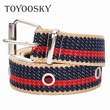 2019 Harajuku Rivets Canvas Women Belts for Jeans Colors Pin Buckle All-match High Quality Female men TOYOOSKY