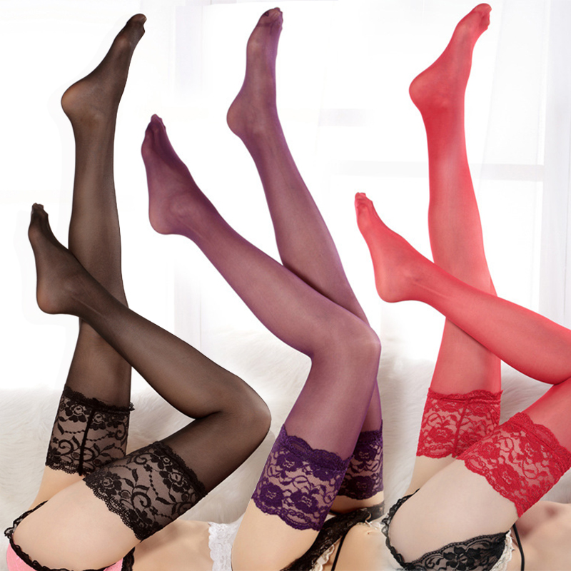2019 Nylon Sexy Stockings Knee Socks Over Knee Sex Pink Stockings Super Wide 14 Cm Lace Lace Thigh Stockings