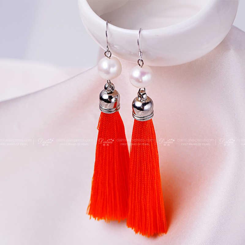 DAIMI Silber Ohrringe Lange Tassles Ohrringe 9-10MM Weiße Perle Ohrringe 6 Farben Grün/Orange/fuchsia/Grau/Braun/Blau