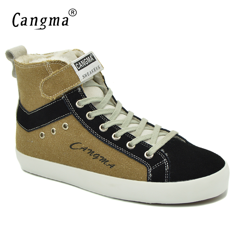 CANGMA Fashion Designer Womans Boots Casual Shoes Canvas Sneakers Women Lace Up Handmade Brown Shoes Deluxe Ankle Boots Female