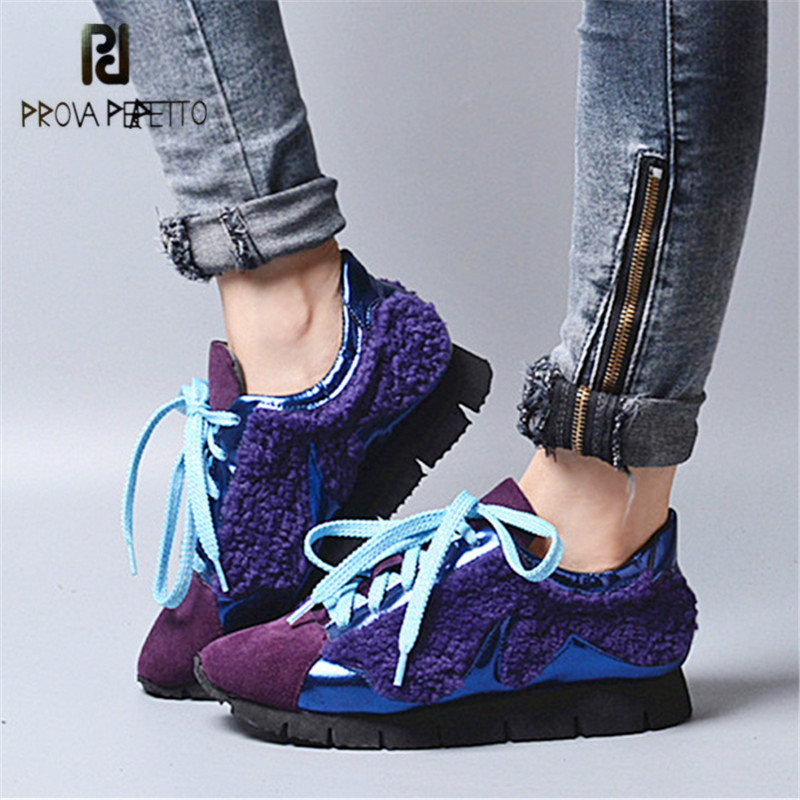 Prova Perfetto 2018 New Women Sneakers Lace Up Casual Flat Shoes Platform Creepers Female Loafers Tenis Feminino Espadrilles prova perfetto horsehair ankle boots for women lace up platform flats comfortable creepers female flat rubber boot espadrilles