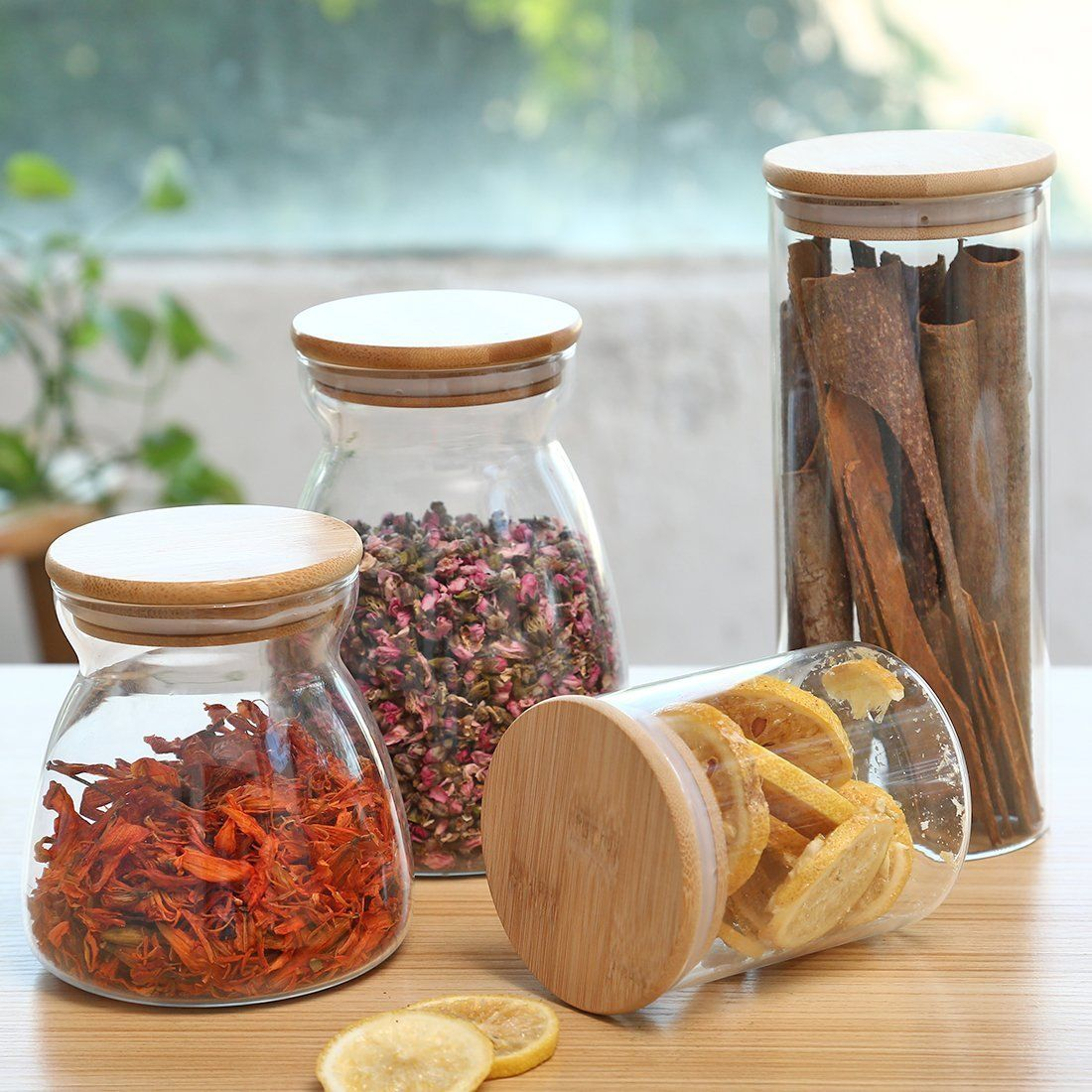 Kitchen Storage Glass Canister Bottle Glass Candy Jar Storage
