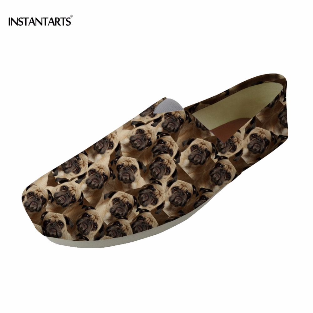 INSTANTARTS Women Flats Casual Slip-on Shoes 3D Brown Animal Dog Design Woman 's Lazy Shoes Pug Dog Loafers Canvas Flats Shoes