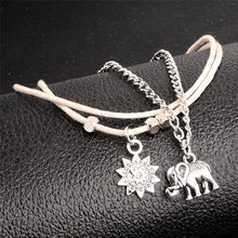 Elephant Sun Pendant Charms Rope Chain Beach Summer Foot Ankle Bracelet Jewelry Vintage Multiple Layers Anklets for Women(China)