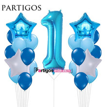 21pcs Baby Shower 1st Birthday Party Decor 40inch Number 1 Foil Balloons Supplies Baby boy Girl balls 2.2g latex helium globos