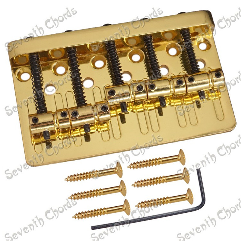 A Set Gold 5 String Saddle Bridge for 5 String Electric Bass With Black Screw Strings through bridge or body guitar accessories сумки d vero сумка