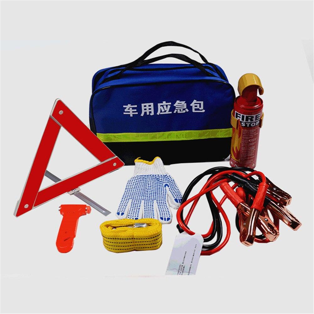6 pièces voiture trousse de premiers soins extincteur costume gants extincteur trépied marteau de sécurité sauvetage extérieur voiture Kit