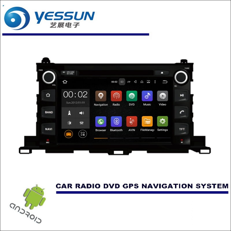 YESSUN For Toyota Highlander XU50 2014~2016 CD DVD GPS Player Navi Radio Stereo Screen Car Multimedia Navigation Wince / Android