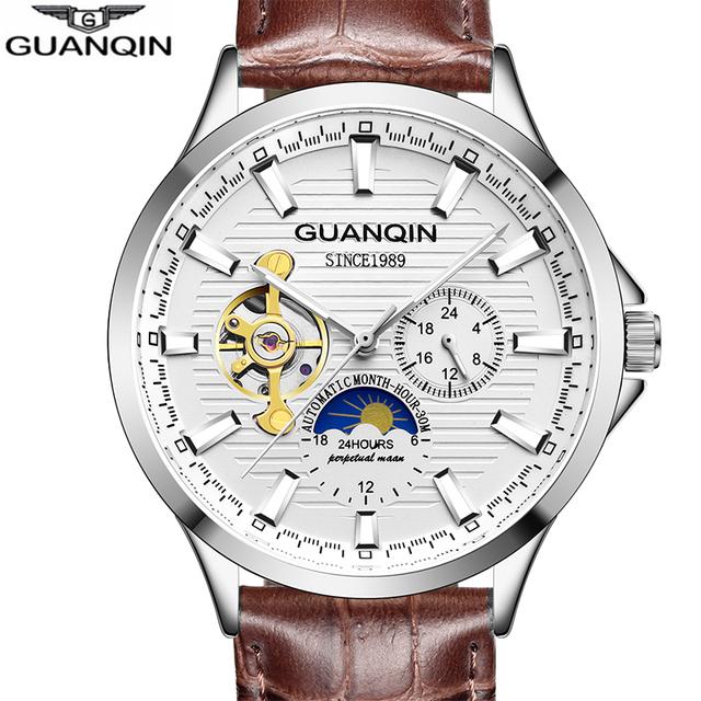 GUANQIN 2018 mens watches top brand luxury Automatic watch skeleton Mechanical clock men waterproof Wristwatches horloges mannen