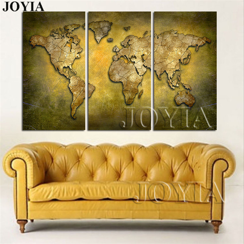 Large Map Wall Art Print, Brass Color World Map Canvas Prints ...