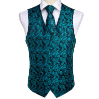 DiBanGu Men's Teal Green Paisley Waistcoat Vest Pocket Square Tie Cufflinks Hanky Suit Set For Men Wedding Party Business MJ 107