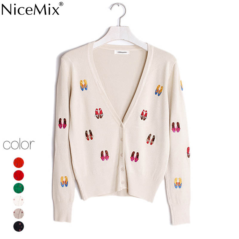 NiceMix 2019 Winter Knitted Cardigan Women Coat Sweet Shoes Embroidery Patch Slim Cardigans Sweaters Women Pull Femme