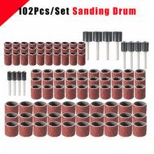 102 шт 120 зернистость шлифовальный барабанный набор с 1/2 3/8 1/4 дюймовыми шлифовальными оправками подходят вращающиеся инструменты Dremel
