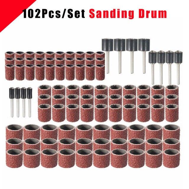 102 шт. 120 шлифование песком барабан комплект с 1/2 3/8 1/4 дюймов шлифовальные оправы подходят Dremel вращающиеся инструменты