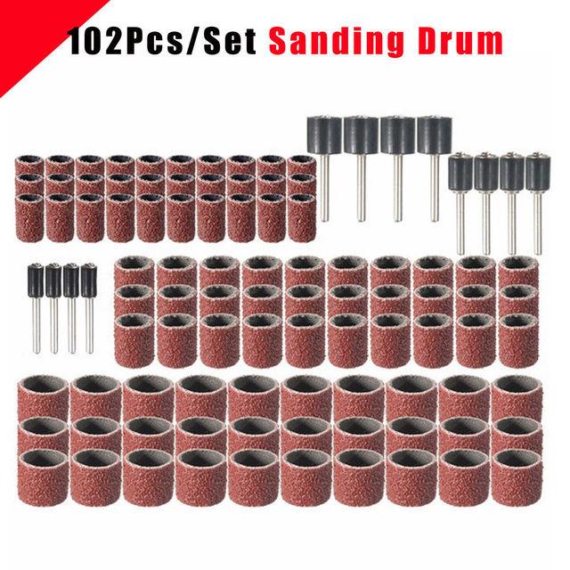 102 stücke 120 Grit Schleifen Trommel Kit Mit 1/2 3/8 1/4 Zoll Schleif Dorne Fit Dremel Dreh Werkzeuge