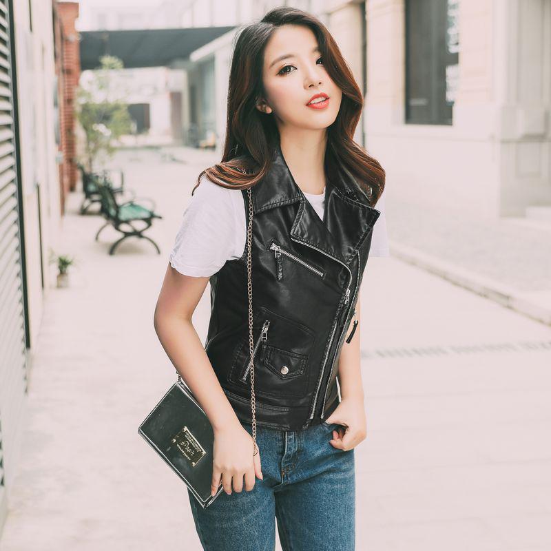 Personality Fashion Trend   Leather   Vest Short Vest Locomotive Slim Slimming Wild Vest Jacket Black Punk Female Jacket