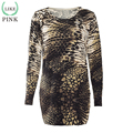 LIKEPINK 2016 Autumn Women Dress Snakeskin Printing Pattern Sweater Party Dresses Sweater Cashmere Sweater Women Robe Femme