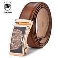 KIRIN FUEGO Hombres Del Diseñador de Moda Cinturones 2017 Famosa Marca Estampado Geométrico de la Correa Masculina de Cuero Genuino Automática Hebilla Ceinture B52