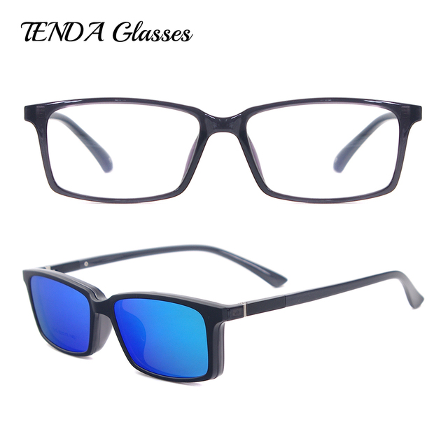 76ec8481b6e TendaGlasses Lightweight Flexible Rectangular TR90 Men Women Prescription  Eyeglass Frame with Polarized Clip On Sunglasses