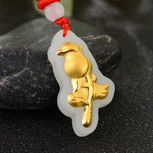 3D 4D Jade Necklace Pendants Gold Inlaid Rose female Pendant Women fine Jewelry