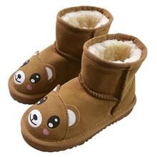 Высококачественные зимние Новые детские зимние ботинки для мальчиков и девочек короткие сапоги, теплая детская обувь, мультфильм детские сапоги.