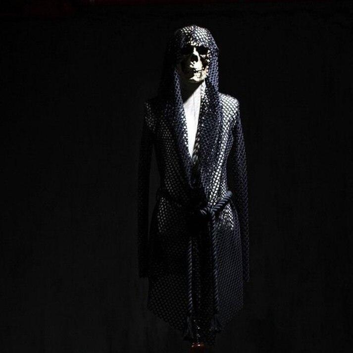 Men Mesh Top 2017 Men Hooded Long Sleeve Goth T-shirt Mens Cutout Personality Net Grid Costume Net Punk Gothic T shirt Tee Tops